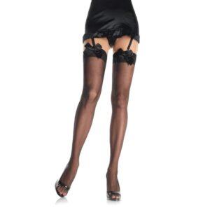 Čarape za haltere, crne, s mašnom na vrhu, vel. U