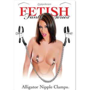 Štipaljke za bradavice, podesive, na lančiću - FF Alligator Nipple Clamps