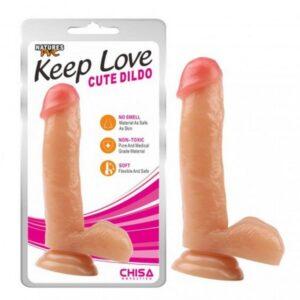 PVC dildo s testisima, 17,8 x 4cm, strap-on opcija - Keep Love