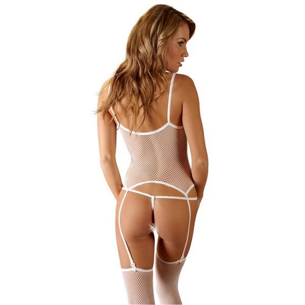 Komplet ženski, mrežasti, bijeli - body s halterima, tange, čarape