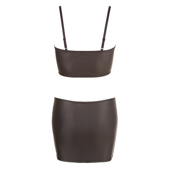 Komplet ženski: crop top i mini suknja s patentima - Cottelli Collection