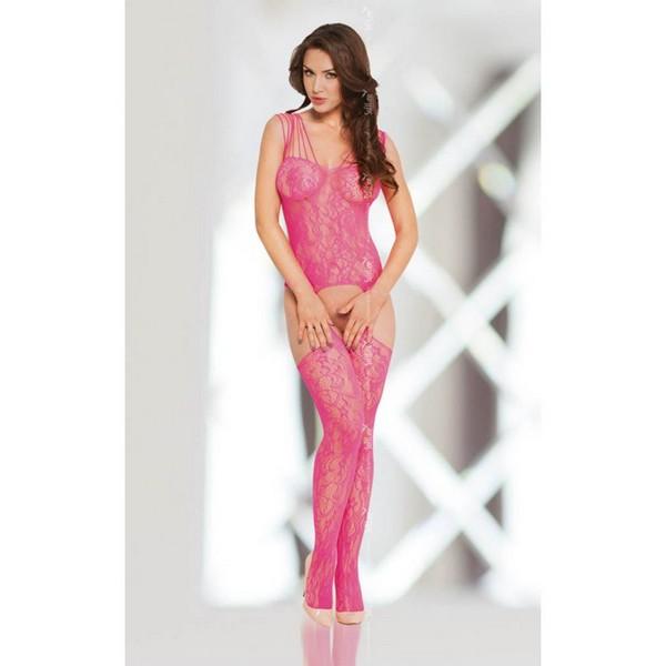 Ružičasti čipkasti body s halterima i čarapama u jednom, vel. S/L