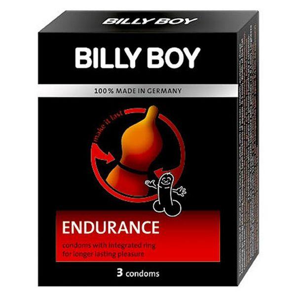 Kondomi 3 kom., ugrađen prsten za stimulaciju, crveni - Billy Boy Endurance