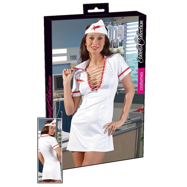 Kostim bolničarka, kratka haljina s rukavima i marama za glavu, vel. M