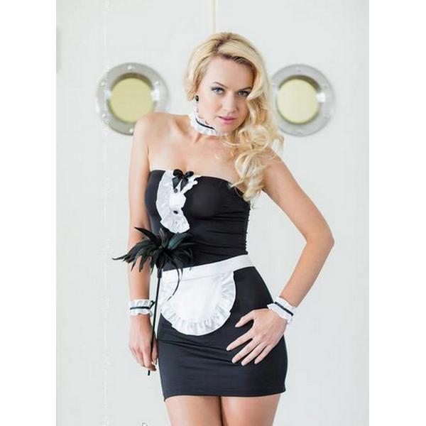 Kostim ženski sobarica, haljina bez naramenica, crno-bijela, vel. S/M