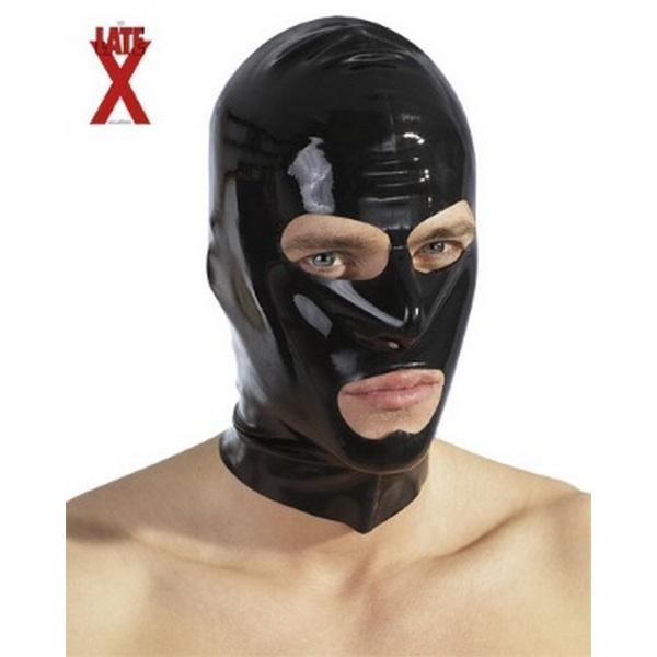 Maska za glavu, crna, od sjajnog latexa, s prorezima za oči i usta
