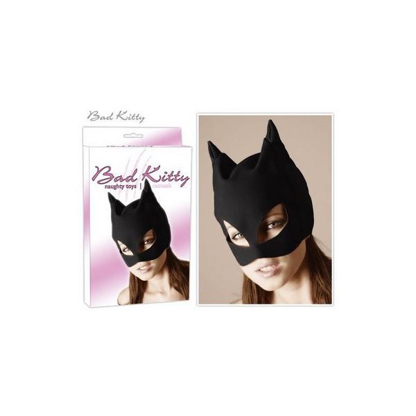 Maska za glavu, crna, s otvorima za oči i mačjim ušima
