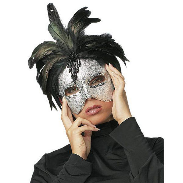 Maska za lice, srebrna s perjem