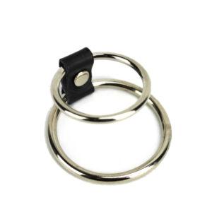 Metalni dupli prsten za penis i testise, promjer 3,8-4,5 mm