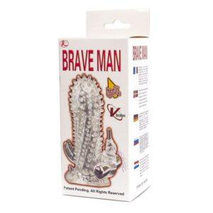 Navlaka za penis s vibratorom i stimulatorom za klitoris - Brave Man