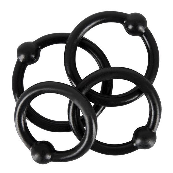 Set od 4 prstena za penis s kuglicom, razne veličine - Rebel