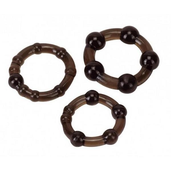 Set od 3 prstena za penis, u više boja, od jelly gume - Beaded Cockring