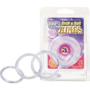 Set od 4 prstena od silikona, svjetle u mraku - Cock & Ball