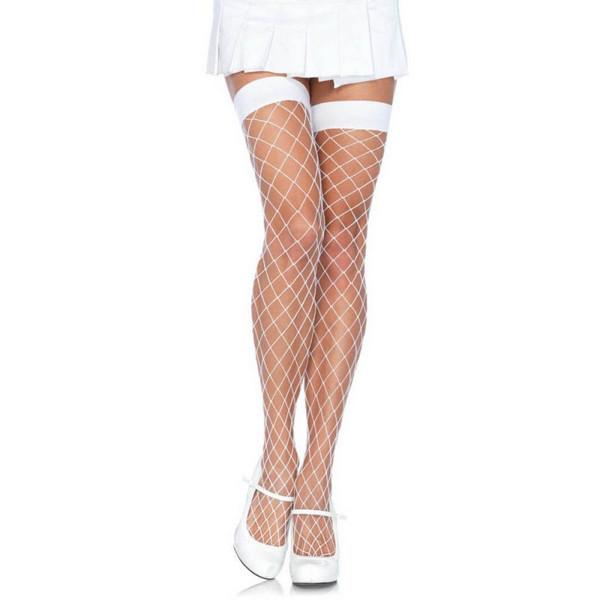 Samostojeće bijele mrežaste čarape, vel. U - Leg Avenue