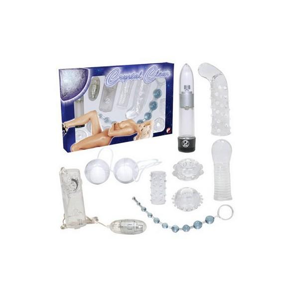 Set od 9 igračaka: vibrator, kuglice, navlake, prsten... - Crystal Clear
