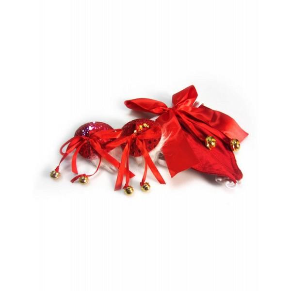 Samostojeće gaćice i ukrasi za bradavice, crveni sa zvončićima - Naughty