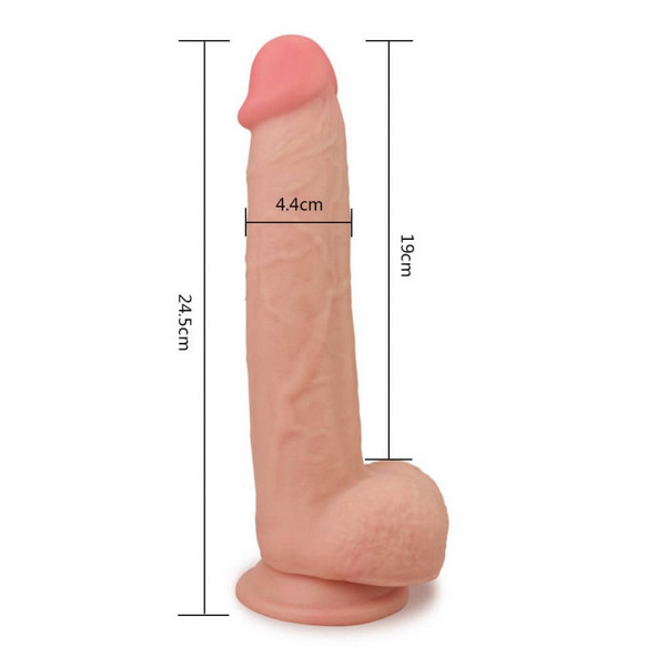 TPE dildo s testisima, 24,5x4,4cm - Skinlike Soft Dong