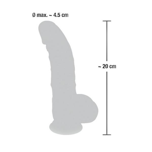 Silikonski dildo s testisima, 20 x 4,5cm, strap-on opcija - Medical Silicone