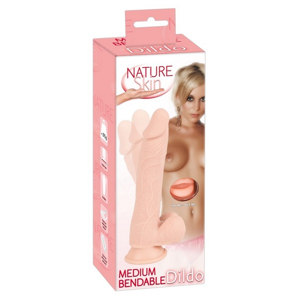 Savitljivi TPR dildo s testisima, 24 x 3,1-4,4cm - Nature Skin Medium Bendable