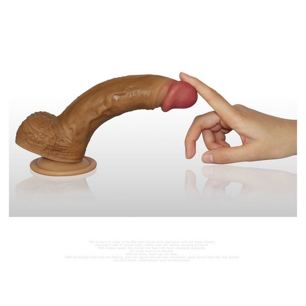 Silikonski dildo s testisima, 21,5 x 4cm, strap-on opcija - Nature Cock