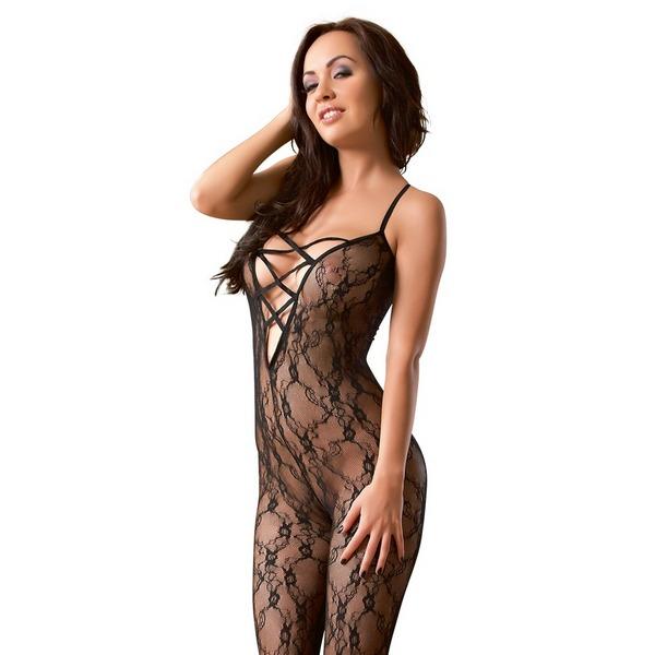 Catsuit ženski, crni, čipkasti, od poliamidnih vlakana