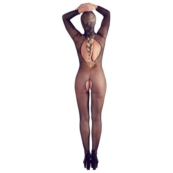 Catsuit ženski, crni, mrežasti, s maskom za glavu i prorezima, vel. S/L
