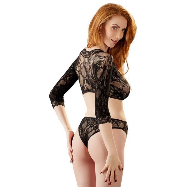 Body ženski, crni, čipkasti, dugi rukav, s prorezima u struku, vel. S/L