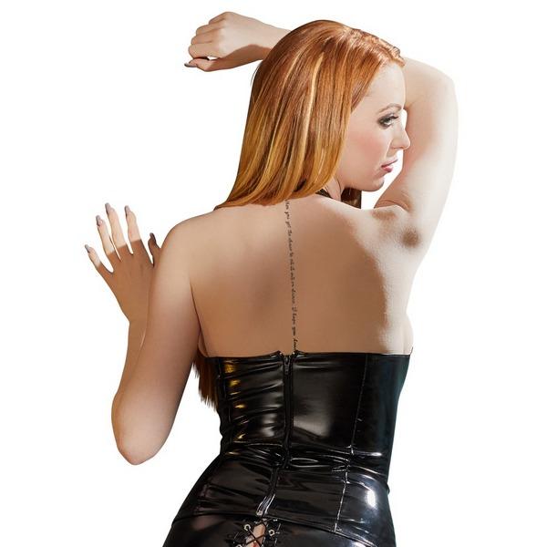 Korzet ženski od vinila, crni, s vezicama na prednjoj strani