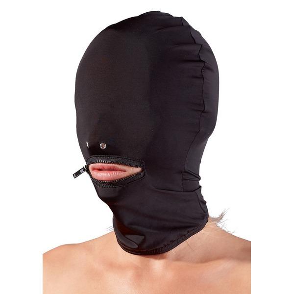 Maska za glavu, crna, s patentom za usta i otvorima za nosnice, vel. U