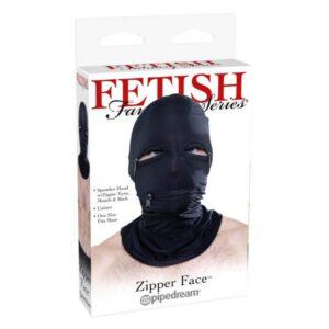 Maska za glavu s otvorima za oči i usta i patentima - Fetish Fantasy