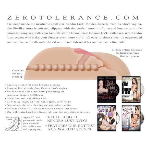 TPR masturbator, vagina i stražnjica, 16,5cm + 4 DVD - Zero Tolerance Kendra Lust