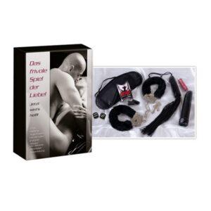 Crni set od biča, lisica, maske, vibratora, kockica i čepića za uši