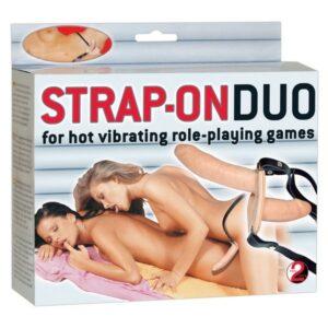 Strap-on s dva dilda s vibratorima, s daljinskim upravljačima - Duo