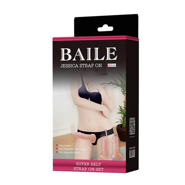 Strap-on, 2 dildoa (jedan s testisima), podesivo remenje - Baile Jessica