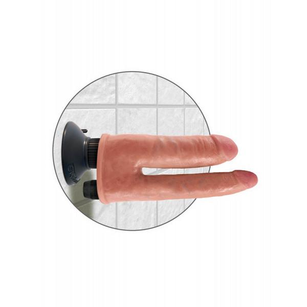 Gumeni vibrator s dva dilda, 18/20,5cm x 3,9/2,9cm – King Cock Double